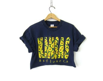 Cut Off Cropped TShirt Navy Blue KANSAS Sunflowers Tee Shirt Cotton Tee Crop Top Floral Top Vintage Women's Size Large