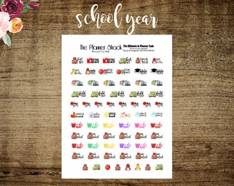 School Year // Printable Planner Stickers // Planner Printables // Printables // First Day Of School // Early Release // No School