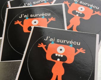 Set of 5 round stickers - I survived #viedeprof