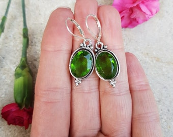 Green Peridot gemstone earrings Sterling Silver Lever backs -  August Birthstone jewellery gift