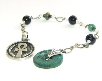 Meditation Beads / Prayer Beads - Natural Turquoise Focus Bead, Pewter Ankh Medallion