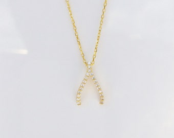 Wishbone Necklace, gold plated sterling silver and zirconia, Make a wish