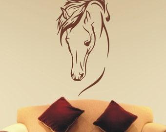 Horse head vinyl wall art sticker 120cm tall - #1 car horse box motor home trailer- WS1007