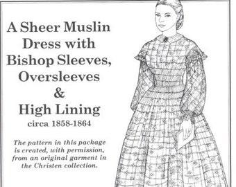 PP812 - Past Patterns #812, 1858-1864 Sheer Muslin Dress Sewing Pattern