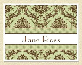 Elegant Damask Note Cards - Personalized (10 Folded)