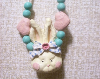 Easter gift for mum etsy easter bunny necklace rabbit head necklace easter jewelry easter gift for mom negle Image collections