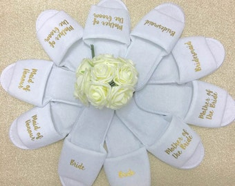 Hen Party Slippers | Bridal slippers | Bridal Party Slippers | Personalised Spa Slippers | Wedding Slippers | Spa Slippers | Bridesmaid Gift