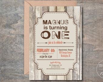 Rustic Birthday Party Invitation, Outdoorsy Birthday Party Invite, Printable, Masculine Invite