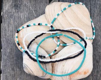 Seed Bead Bracelets - Surfer Jewelry - Boho Jewelry - Anklet - Friendship Bracelet - Elastic Cord Bracelets - Puravida Bracelets - Simple