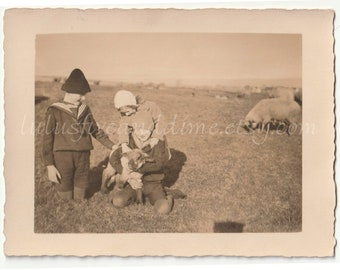 Vintage Photo of Children with Lamb - c. 1910s