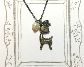 Cute Deer Antique Brass Necklace, Deer Necklace, Pearl Necklace, Cute Necklace, Animal Lover Gift, Cute Gift, Christmas Gift, Gift for girl