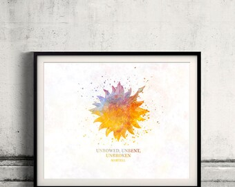 Game of thrones Martell Fine Art Print Glicee  Poster Watercolor Children's Illustration Wall - SKU2568