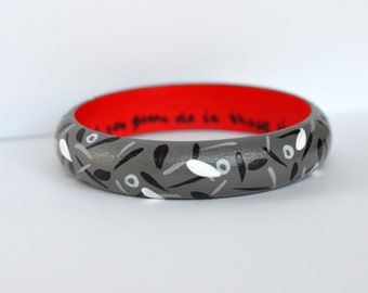 What You Gonna Do in Those Shoes Handpainted Grey and Red Bracelet
