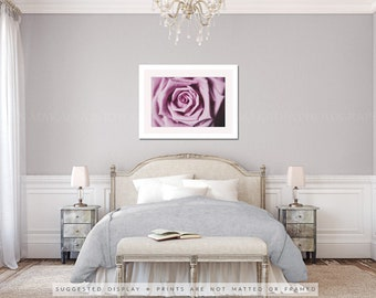 enchanted rose photo, purple rose print, cottage chic decor, macro rose print, lavender mauve wall print, romantic decor, nursery wall art