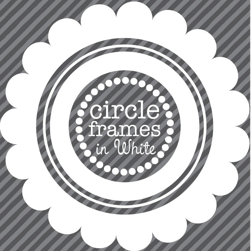 Digital Clip Art Circle Frames in White