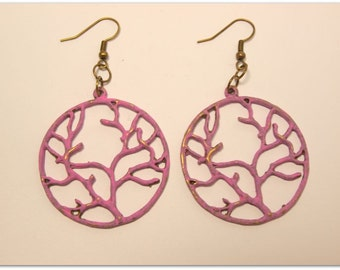 Tree Of Life Boho Style Earrings, Vintage Style, Rose Pink Hand Painted Patina