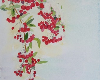 Watercolor Painting, Berries in the Texas Snow, 11x14 , Nan Henke original art