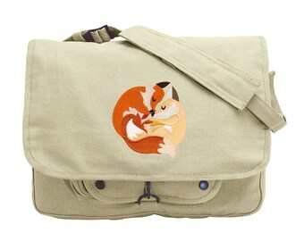 Snuggly Foxes Embroidered Canvas Messenger Bag