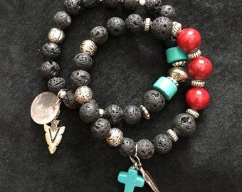 Handcrafted jewelry, diffuser bracelet, bracelet set
