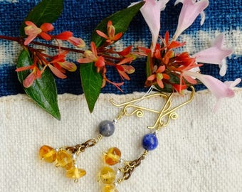 The Mexico amber and lapis lazuli - Blueberry earrings