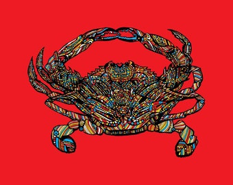 Chesapeake Bay Maryland Blue Crab Print in Assorted Colors for Baltimore, Washington, DC, Naval Academy Colors