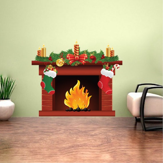 Christmas Fireplace Decal Mural Holiday Fireplace Decal Yule