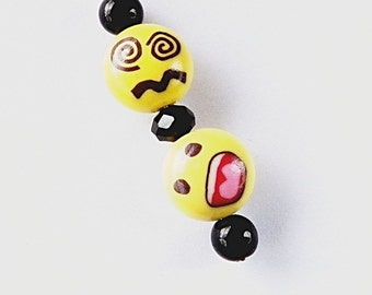 Emoticon Rear View Mirror Charm/Key Ring/Purse, Backpack, Charm - Emoticon Charm with Black Beads C326