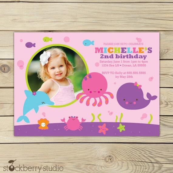 Girl under the sea birthday invitation under the sea first like this item stopboris Gallery