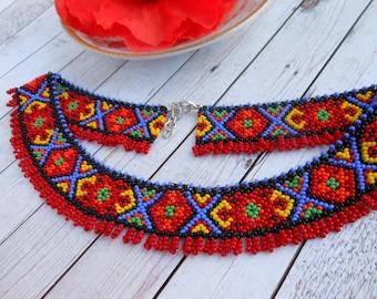 Ukrainian traditional necklace Ukrainian embroidery collar necklace beaded necklace Ukrainian jewelry for ukrainian gift ukrainian gerdan