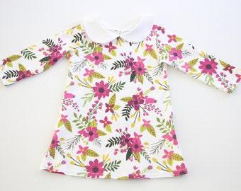 Fall Floral Dress, Organic Dress, Long Sleeve Dress, Peter Pan Collar Dress, Baby Dress, Toddler Dress, Kids Dress