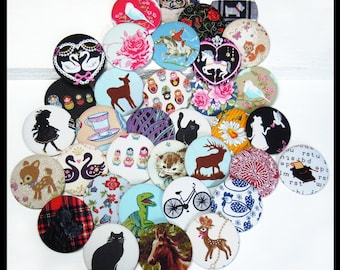 50 Fabric Covered Large Badges
