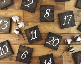 Wood table numbers, Table numbers, painted wood numbers, Wedding decor, Centerpiece decor, wedding signs, rustic table numbers, wood signs
