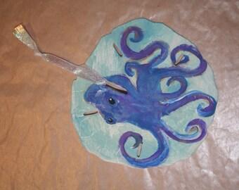 octopus, crakin, hand painted sand dollar, ornament