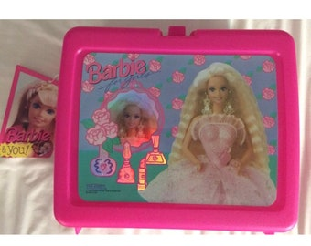 New With Tags 1993 Barbie For Girls Plastic Lunch Box And Thermos