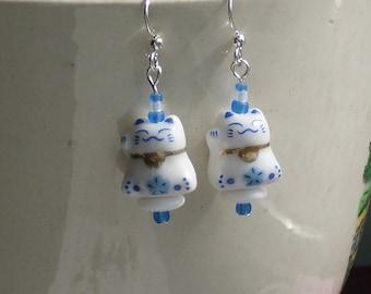 Maneki Neko Petite Blue Japanese Lucky Cat Earrings