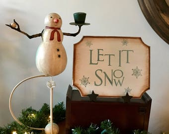 Let It Snow Primitive Christmas Winter Wooden Sign