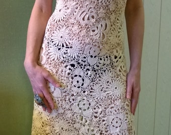 Dress knit, crochet, Irish lace.
