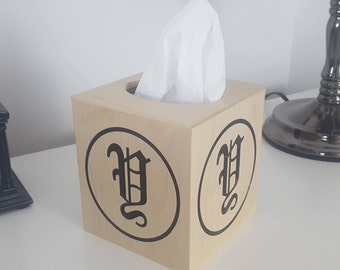 Personalized Solid Maple Tissue Box Cover