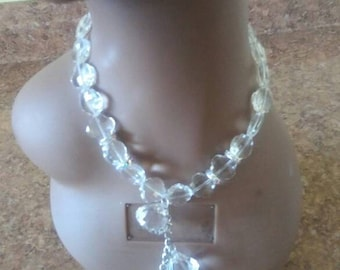 Faux crystal Necklace, earrings to match