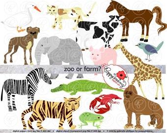 Zoo oder Bauernhof: tierische Digital Clipart Pack (300 dpi) Elefant Zebra Hund Katze Tiger Affe Alligator Ente Pferd Schwein Vogel Kuh