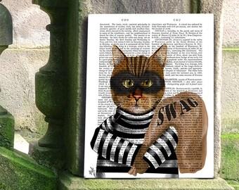 Tabby Cat Print Burglar Cat burglar Cat Art Print wall art wall decor tabby cat gift tabby cat lover tabby cat poster funny cat art print
