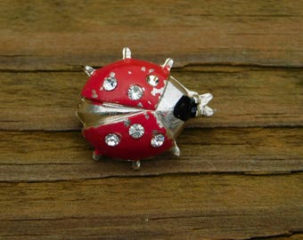 Vintage Red and Silver  Rhinestones Lady Bug Scatter Pin or Brooch