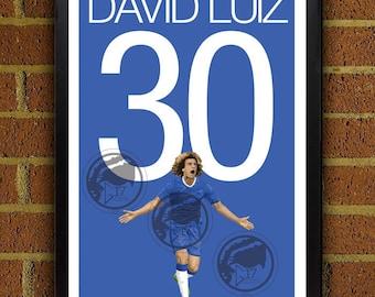 David Luiz 30 Poster - Chelsea FC - Brazil Soccer Poster- 8x10, 13x19, poster, art, wall decor, home decor, premier league