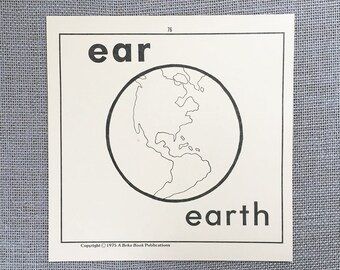 Flashcard Classroom decor Large flash cards 1970s Earth Flash Card