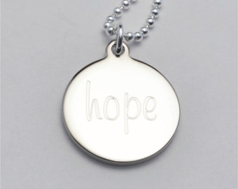Small Custom Engraved Hope Charm Necklace, Inspirational Necklace, Survivor Gift,  Personalized Gift, FREE Shipping