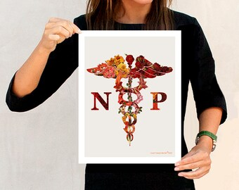 "Flower Caduceus Nurse Practitioner - 11"" x 14"", Medical Art Decor, Nurse Practitioner graduation gift, NP certification print, Nurse office"