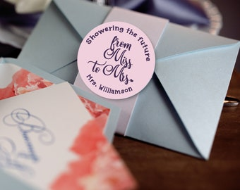 From Miss to Mrs Bridal Shower Labels - Personalized Stickers -  Round Stickers - Bridal Shower Decor - Showering the future Mrs