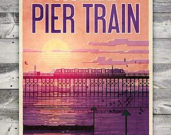 Southend - Pier Train - Poster (A4 & A2 sizes)