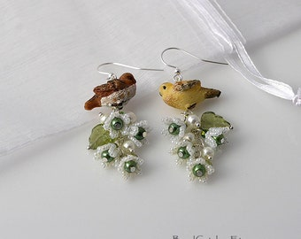 Dove Birds and flowers spring earrings
