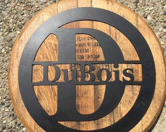 Authentic KY Bourbon Barrel with Monogram Letter & Last Name